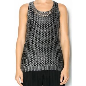 Ya Los Angeles Silver Metallic Knit Tank